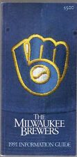 1991 Milwaukee Brewers Media Guide Retro MB Ball and Glove Logo on Cover