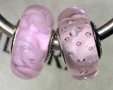 2X Authentic Pandora 925 ale  silver beads  charm  pink flower cz clear 3