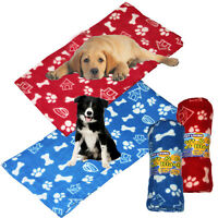 LARGE COSY SOFT WARM FLEECE PAW PRINT PET CAR BLANKET DOG PUPPY CAT BED RED BLUE