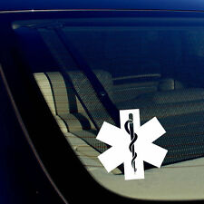 "Star of Life Ambulance EMT EMS Rescue Paramedic White Decal Sticker 5"" Inches"