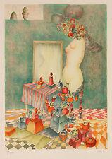 Raffi Kaiser: Frauentorso mit Spiegel. Wunderbare Farblithographie
