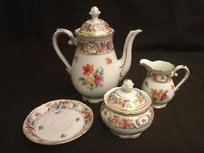SCHUMANN EMPRESS DRESDEN FLOWERS ROSE SMALL COFFEE POT SUGAR BOWL AND CREAMER