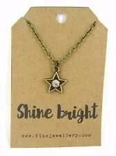 """Shine Bright"" Rhinestone Star Bronze Necklace Message Card Quote Gift"