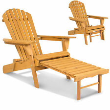 2 Adirondack Outdoor Fir Wood Chairs With Pull Out Ottoman Patio Deck Furniture