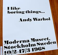 ANDY WARHOL I LIKE BORING THINGS SWEDEN GALLERY POSTER HUGE EX+ RARE