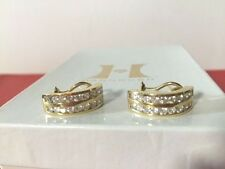 14KT YELLOW GOLD + DIAMOND OMEGA BACK EARRINGS FINE QUALITY APPROX. 2 CT TW BOLD