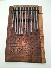 African 10 Key Finger Mbira Kalimba Thumb Hand Piano Carved Wood
