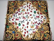 """NWT VERSACE BAROQUE LADYBUGS&BUTTERFLIES 100% SILK 34"""" Sq  SCARF made in Italy"""