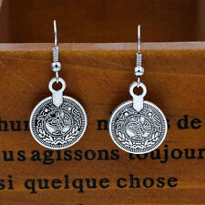 Cute New Antique Look Tibetan Silver Coin Dangle Drop Earrings