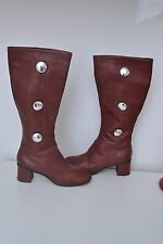 Fabulous genuine vintage wine leather button detail 60s 'Gogo' boots 6.5 uk