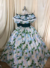 Custom-Gone with the Wind floral Reenactment-civil war-Cotton Ballgown Dress