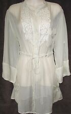 4 For Love and Liberty Johnny Was Sheer Ivory Silk Embroidered Top Tunic L