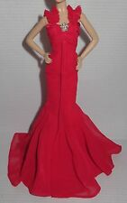 DRESS ~ MATTEL BARBIE DOLL MODEL MUSE GO RED FAUX JEWEL ACCENT EVENING GOWN