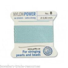 TURQUOISE BLUE NYLON POWER SILKY THREAD 0.8mm STRINGING PEARLS BEADS GRIFFIN 8