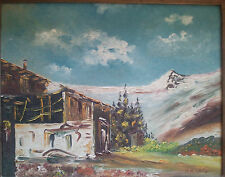 Snow mountain farm scene oil painting by Rbosia with wood frame