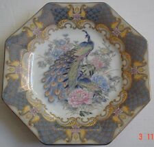 Lovely Oriental Hexagan Shaped Plate Blue Grey Showing Peacock Peacocks #2