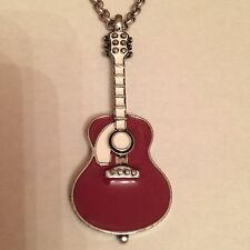 Lucky Brand Silver Tone Metal - Red Guitar Necklace