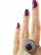 Antique Turkish Traditional Jewelry 925k Silver Handmade Ruby Ring Size 9 R3054