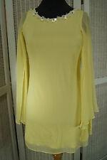 L'ART DE RIVER ISLAND Mini Tunic Dress Angel Wing Sleeves Flower Trim UK6 EU32 S