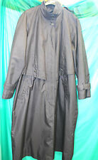 womans rubber backed shiny satin pewter raincoat & liner swishy rustling mack 16