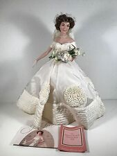 "Jackie Kennedy 16"" Porcelain Heirloom Bride Doll by Franklin Mint Wedding Dress"
