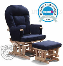 NAVY SUPREMO BAMBINO Nursing Glider Rocking Recliner Maternity Chair With Stool