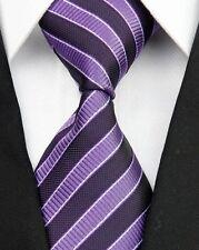Purple And Dark Plum Striped Silk Classic Woven Horse Show Tie *New*