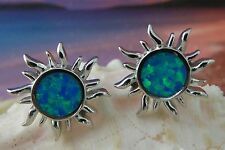 CUTE STERLING SILVER BLUE OPAL SUN STUD EARRINGS