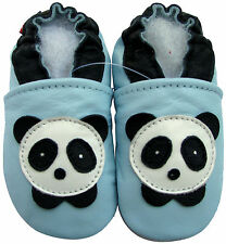 carozoo panda baby blue 2-3y soft sole leather toddler shoes