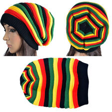 Winter Warm Knitted Hat Rasta Colors Striped Cap Woman Girl Color Stripe Hat