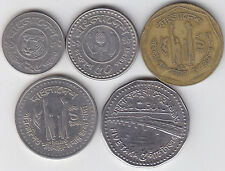 Bangladesh - 25 , 50 Poisha & 1 , 5 Taka Coin Set - Old & New Type 5 Different