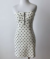 Forever 21 Polka Dot Sweetheart Zip Up Strapless Fitted Bodycon Wiggle Dress S M