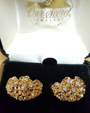 Stunning New Vintage Finely Detailed Nugget Clip on Earrings with Hand Set CZ