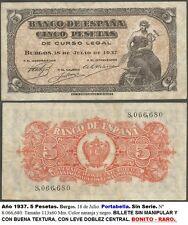 BONITO Y RARO BILLETE de 5 pesetas. Portabella. 18 Julio 1937. SIN SERIE.