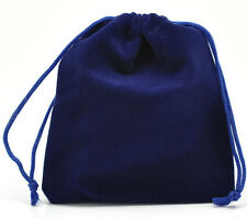 10 Dark Blue Velveteen Pouch Jewelry Bags With Drawstring 12x10cm