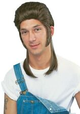 1980S 80'S ADULT MEN MALE BROWN MULLET COSTUME WIG TRAILER PARK JOE DIRT REDNECK