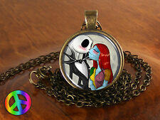 Jack & Sally Love Nightmare Before Christmas Necklace Pendant Jewelry Gift