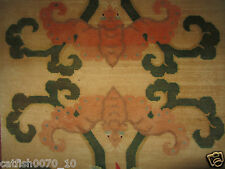 ART DECO TIBETAN WOOL WOVEN LARGE BAT MEDITATION RUNNER RUG