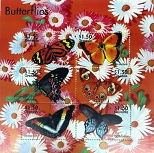 2002 GRENADA BUTTERFLY STAMPS SHEET OF 6 BUTTERFLIES INSECT MOTH FLOWERS DAISY