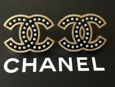 CHANEL 2016 BLACK GOLD PEARL CC  DRESS EARRINGS NEW BEAUTIFUL
