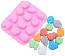 12-Fish Animal Heart Cake Mold Cookie Mould Flexible Silicone Soap Mold