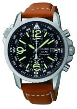 Brand New Seiko SSC081 Solar Chronograph Compass Black Dial Mens Leather Watch