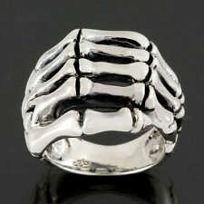 Skeleton Hand Bone Skull 925 Sterling Silver Ring Gothic Jewellery Size L-Z 6-13
