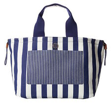 MARC BY MARC JACOBS STRIPED DEEP ULTRAVIOLET SUMMER TOTE BAG