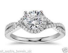 1.76CT BRILLIANT CUT TWISTED SOLITAIRE ENGAGEMENT RING 14CT WHITE GOLD