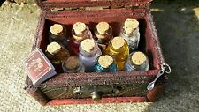 Witch's Miniature Glass Spell Potion Bottles & Wooden Box Wiccan Apothecary
