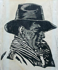 Mid Century Block Print/Portrait on Paper - Unsigned - Unframed - 20th Century