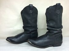 MENS UNBRANDED TOE RAND COWBOY LEATHER BLACK BOOTS SIZE 8.5 D