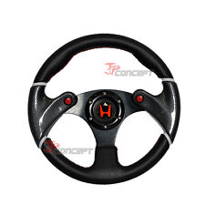 320mm JDM Racing Sport Steering Wheel Black PVC Leather Carbon Fiber Red Stitch