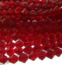 85 + GLASS BICONE BEADS Dark Red Faceted 5mm 14'' Strand Cranberry